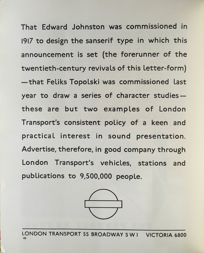 London Transport ad: Edward Johnston