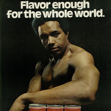"""Flavor enough"" ad for Black Label beer"