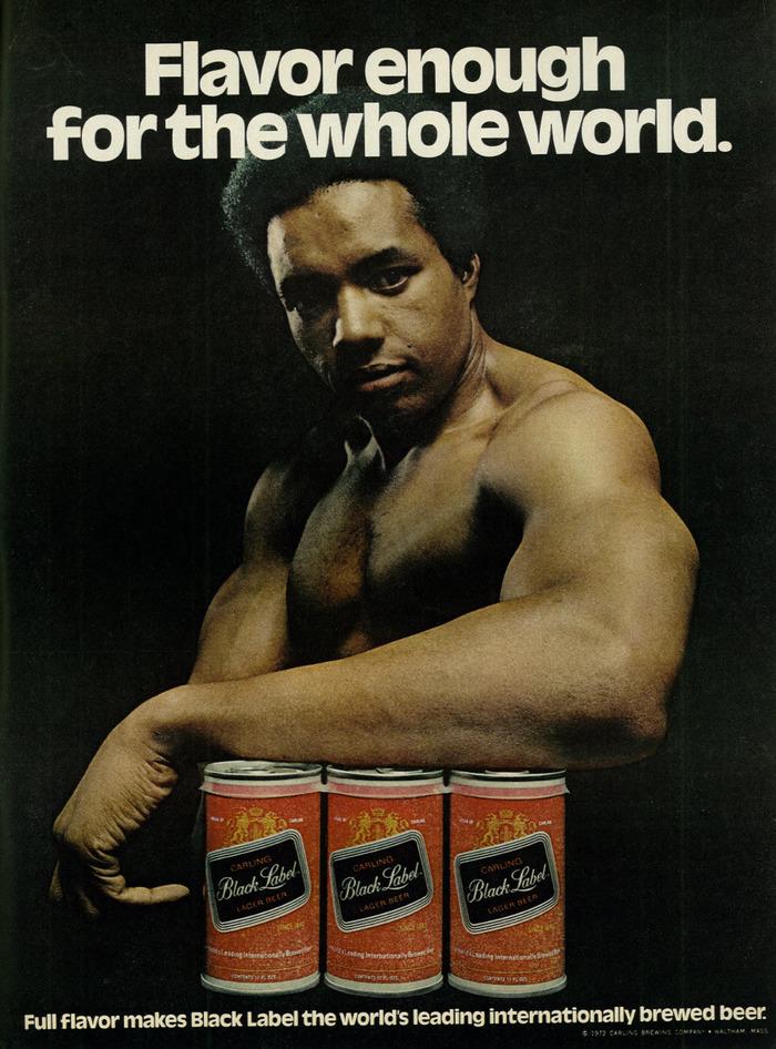 """""""Flavor enough"""" ad for Black Label beer"""