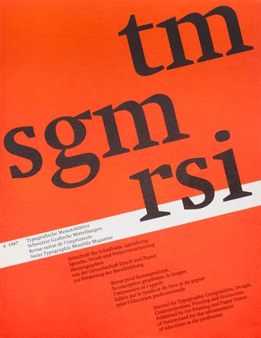 Typografische Monatsblätter, Nr. 4, 1987 2