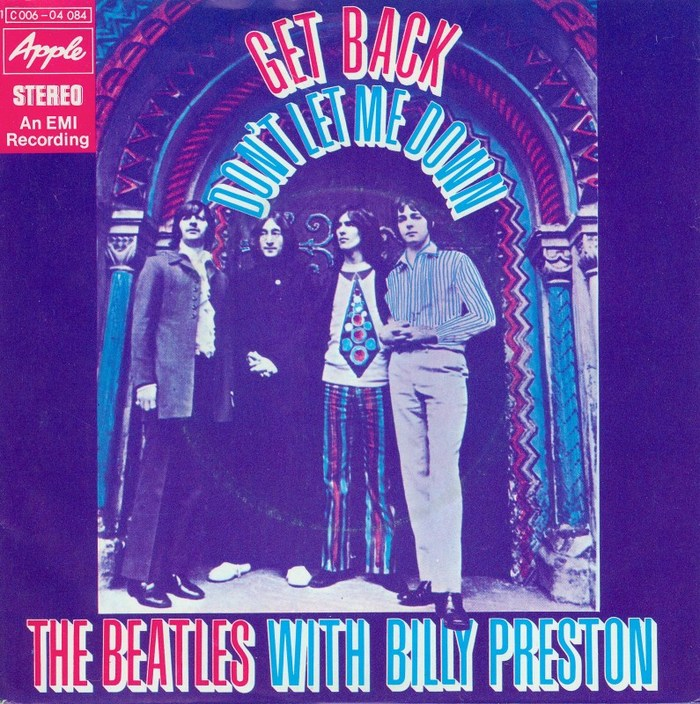 """The Beatles with Billy Preston – """"Get Back"""" / """"Don't Let Me Down"""" German single cover"""