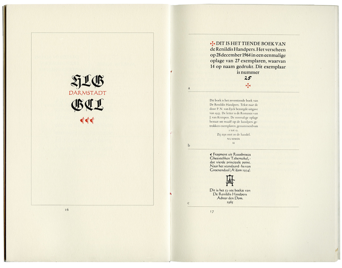 Left: from Denken und Lesen und Schreiben und Drucken by Georg Christoph Lichtenberg, set in Wilhelm-Klingspor-Schrift and Codex; right: excerpts from other editions, set in Vendôme, Romanée and Codex.