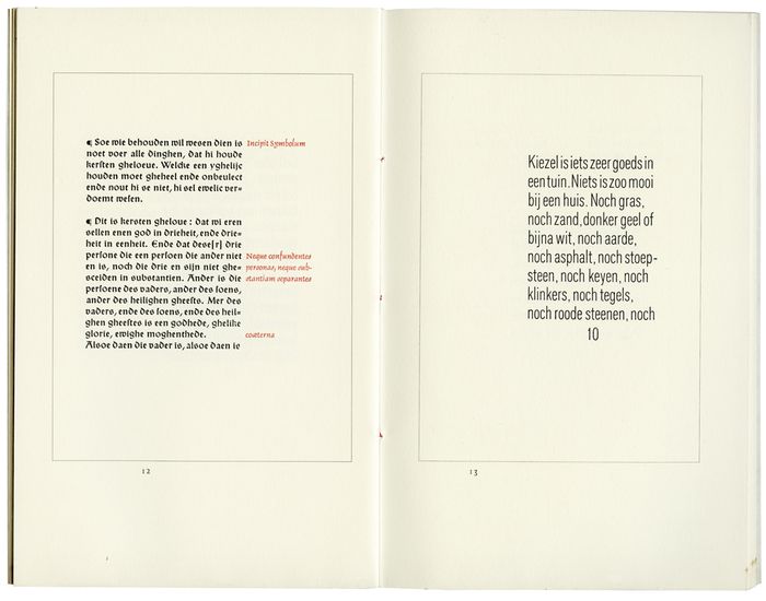 Left: Symbolum Nicaneo-Constantinopolitanum, set in Wallau (with uncial caps) and Delphin; right: Tussen de blauwe lucht en de kiezelgrond by Lodewijk van Deyssel, set in Mercator smal mager.