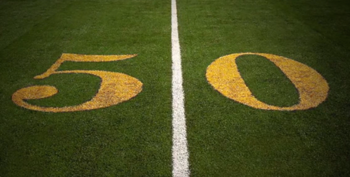"""To celebrate Super Bowl 50, during 2015 every stadium had a gold """"50"""" at the 50-yard line."""
