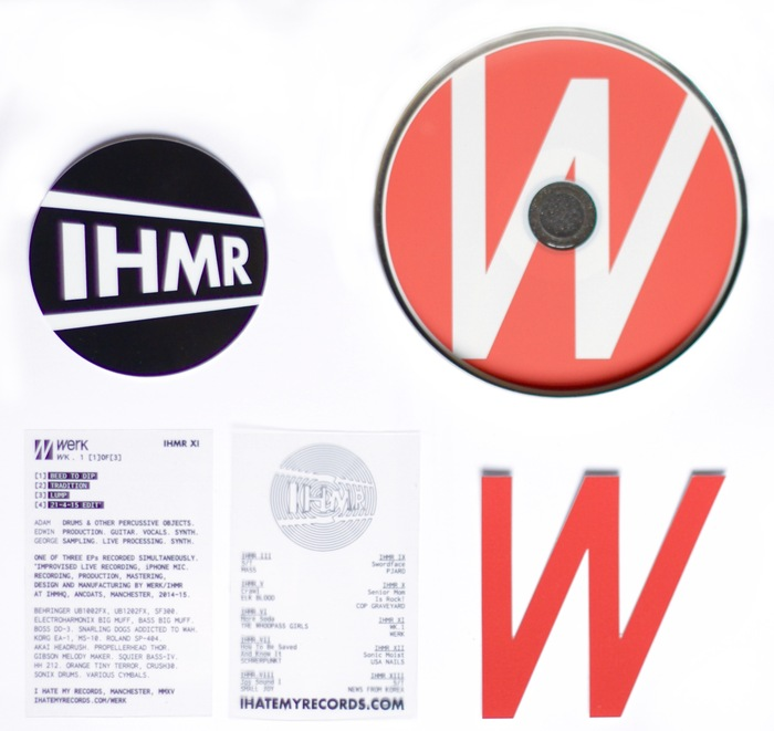 Inserts from a CD release, featuring the company catalogue and business card, printed on overhead-projector transparencies.