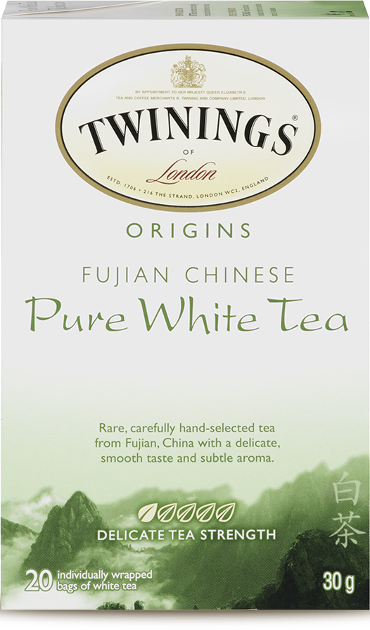 """The packaging for Fujian Chinese Pure White Tea features Present, a calligraphic typeface commonly associated with """"Asianness"""". It was designed by German graphic artist Friedrich Karl Sallwey in 1974."""