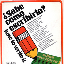 <cite>¿Sabe cómo escribirlo? / how to write it</cite> magazine ad