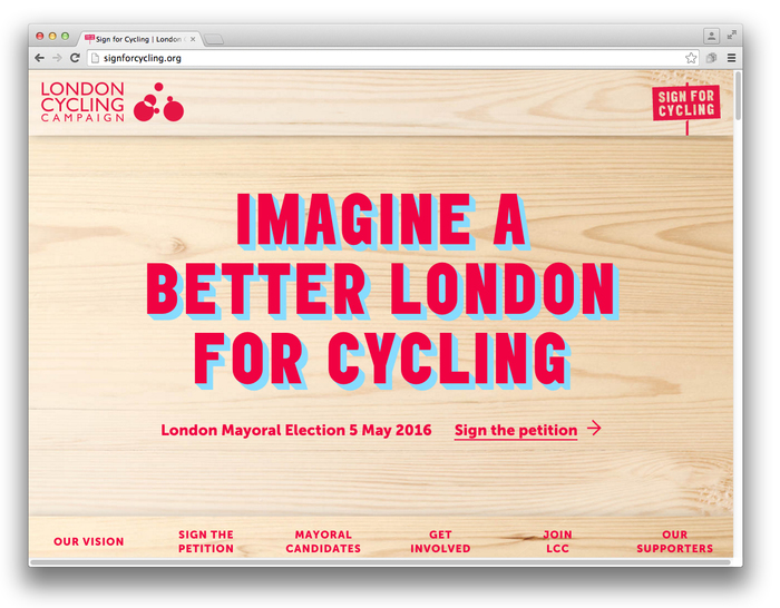 Sign for Cycling campaign 1