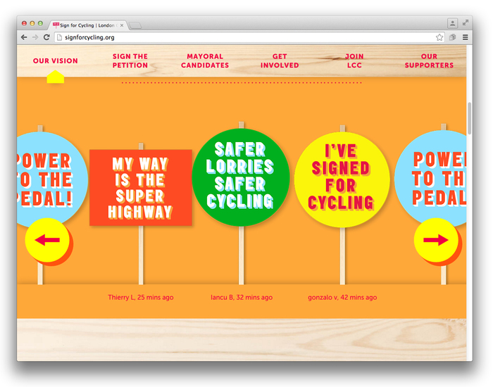 Sign for Cycling campaign 2