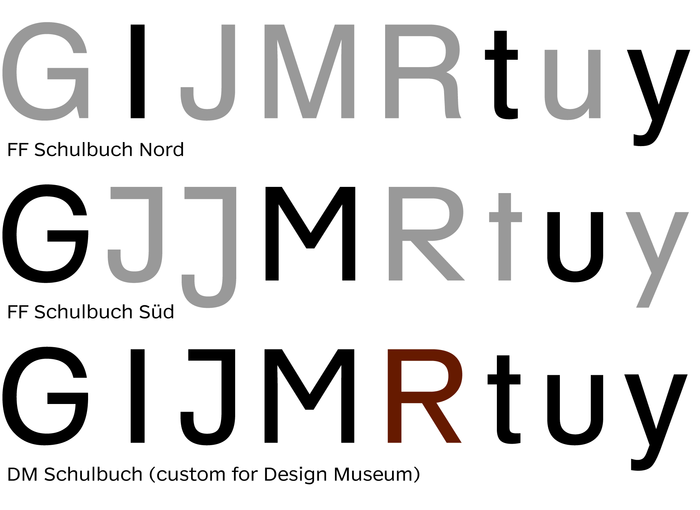 The Design Museum's ID font is a combo of various glyphs from FF Schulbuch Nord and Süd. The Akzidenz-Grotesk-style 'R' was a unique addition.