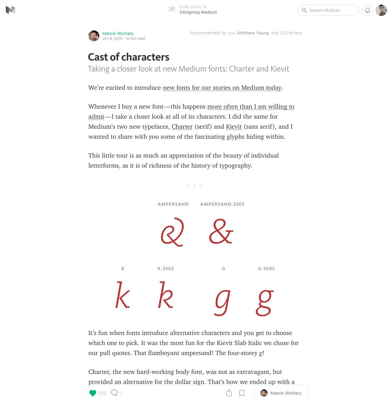 Mediumcom 2015 Fonts In Use
