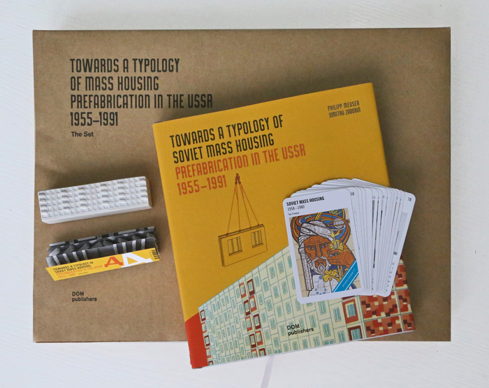 Collector's set including the book; Top Trumps – Soviet Mass Housing, a card game for edutainment by Dimitrij Zadorin; and I-464 by Katia Sheina, a gipsum model of the most produced panel series in the USSR.