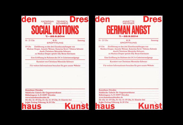 Kunsthaus Dresden: Social Motions / Demotape / German Angst 3