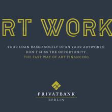 """Art Works"" ad, Privatbank Berlin"
