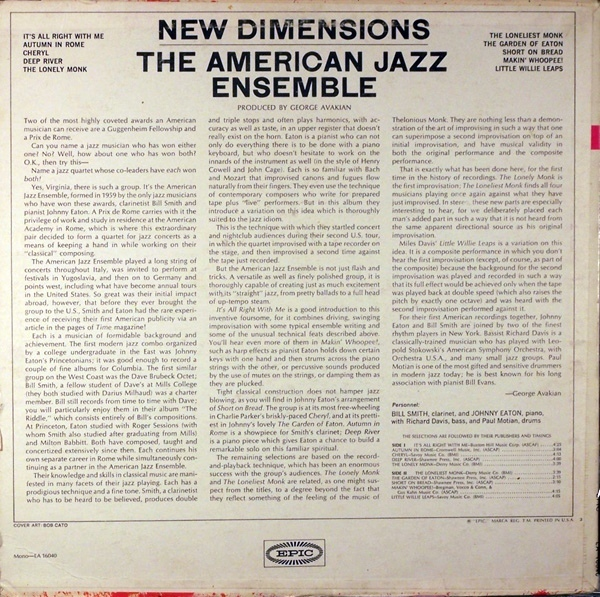 New Dimensions The American Jazz Ensemble - Fonts In Use