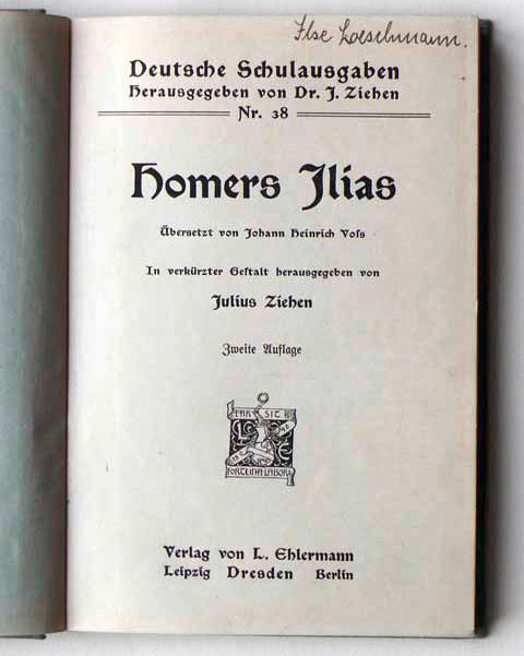 Title page of vol. 38, Homer's Ilias, translated by Johann Heinrich Voß, edited by Julius Ziehen. Second edition, c. 1910.
