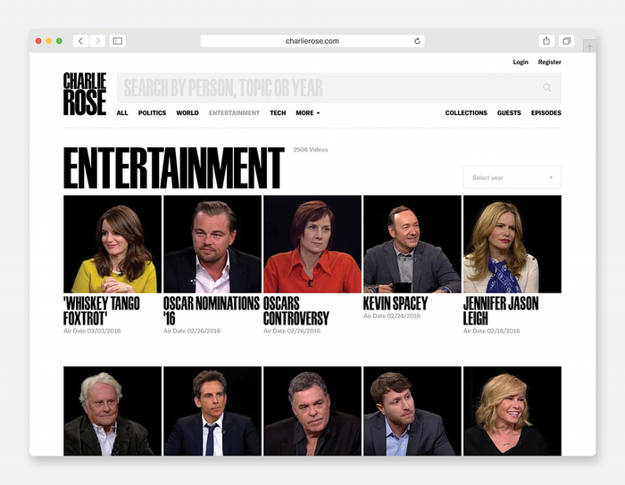 The new Charlie Rose website, developed by AREA 17, is a clean and nimble archive of the show's 25 years.