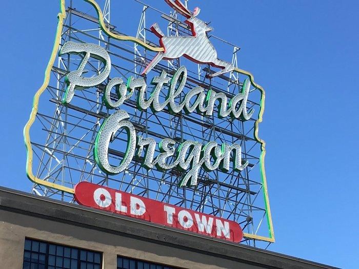 """Portland Oregon: Old Town"" sign 1"