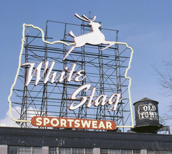 The White Stag sign, with its hand lettering as sprightly as the deer, stood this way for 40 years: 1957–97.