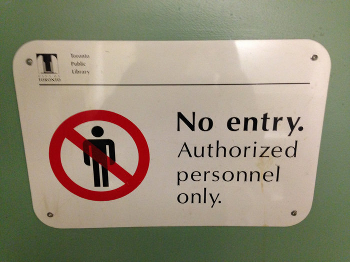 """No entry"" sign, Toronto Public Library"