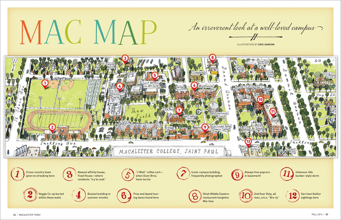 """""""Mac Map"""", Fall 2014. Marcel Caps is paired with Marcel Script and the basic typeface of the magazine, FFDIN. The crossed underline is included both in Marcel Script Pro and Marcel Ornaments. Latter is also the source of the circled numbers 1–9 (10–12 were added by the magazine designer)."""
