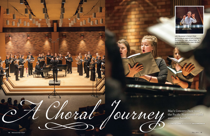 """""""A Choral Journey"""", Fall 2015: Marcel Script with swash alternates and an extra squiggle, as featured in the Pro version."""