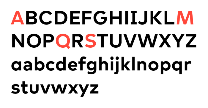 """""""The letters in our logo served as the inspiration for SFMOMA Display, which adopts their open shapes and gracious curves. SFMOMA Display is distinguished by the splayed legs of its 'M', the lower counter of the 'A', and the sinuous curves of the capital 'S'. And be sure not to miss the sleekly modern 'Q'!"""""""