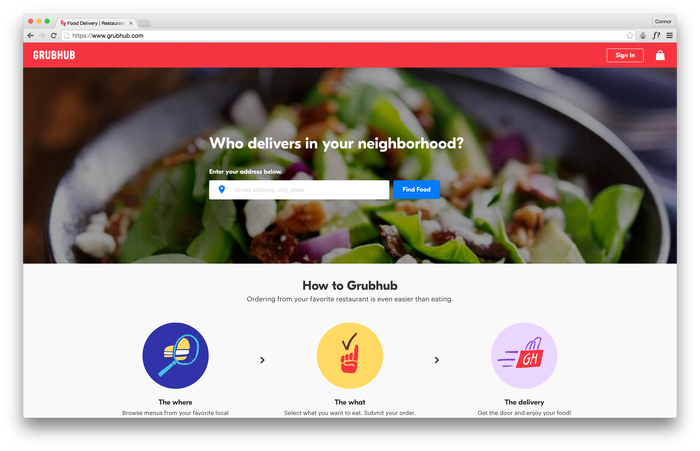 Grubhub website 1