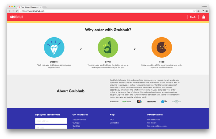 Grubhub website 2