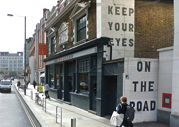 Draft House Old Street with stretched to fit, pre-launch window graphics