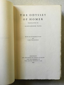 <cite>Odyssey of Homer</cite> (Limited Editions Club)