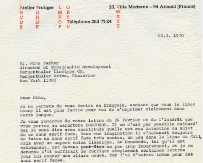 Adrian Frutiger letterheads (1970, 1974) 1