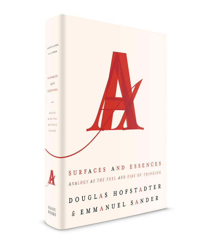 On her portfolio site, Andrea Cardenas shows a different, unused version. This design exhibits the same basic concept, but the execution is way more subtle, with more conventional letterforms all rendered in the same shade of red. Here the 'A's in the title and authors' names are distinguished by color only.