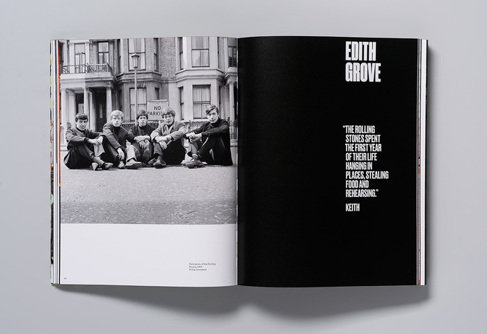 Opening spread of a section about Edith Grove, the band's first flat in Chelsea. The apartment is recreated in the exhibition.