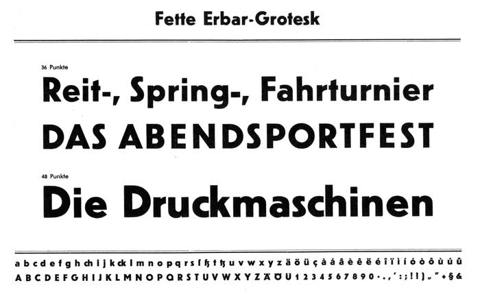 Specimens of Erbar-Grotesk, designed by Jakob Erbar