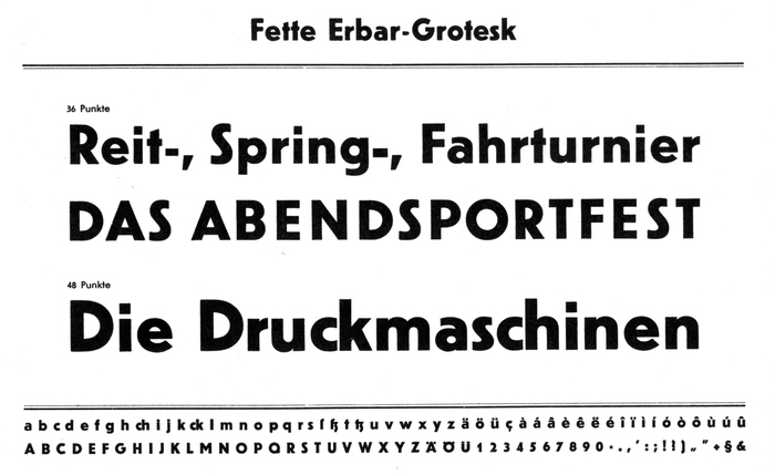 Specimens of Erbar-Grotesk, designed by Jakob Erbar