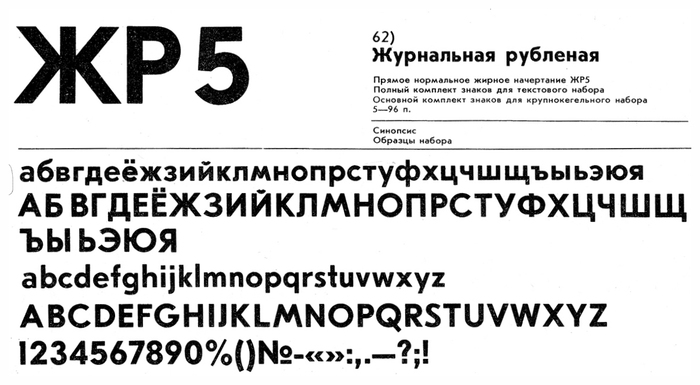 Later Soviet Union specimens of Zhurnalnaya roublennaya with Latin and Cyrillic, designed by Anatoly Schukin