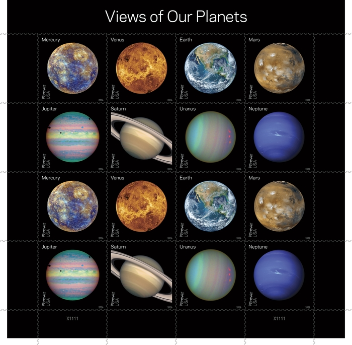 Views of Our Planets and Pluto—Explored! US postage stamps 1