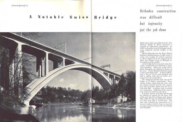"""A Notable Swiss Bridge"". Now known as the Lorraineviadukt, it was the longest four-track railway viaduct in Europe at the time of construction."