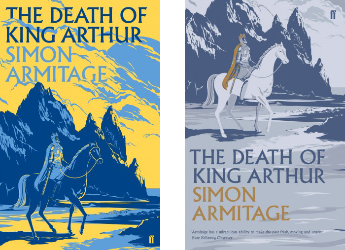 Hardback (January 2012) and paperback (November 2012) editions of Simon Armitage's The Death of King Arthur, Faber & Faber. Illustration by Kam Tang, Art direction by Darren Wall.