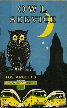 Los Angeles Transit Lines: Owl Service brochure
