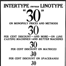 "Intertype ads: ""Intertype vs Linotype"""