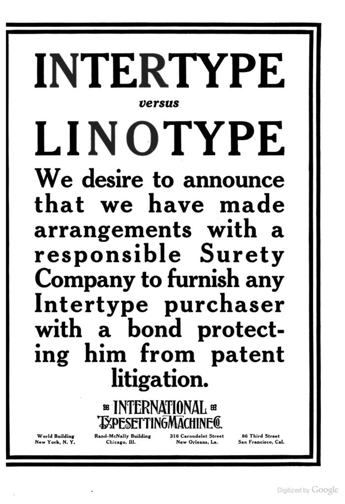"""Intertype ads: """"Intertype vs Linotype"""" 1"""
