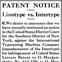 """Linotype Ad: """"Linotype vs. Intertype"""""""