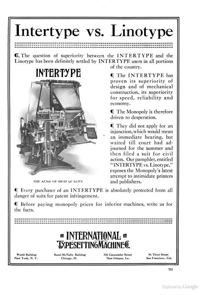 """Intertype ads: """"Intertype vs Linotype"""" 3"""