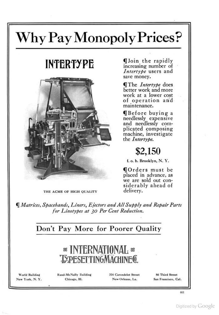 """Intertype ads: """"Intertype vs Linotype"""" 4"""