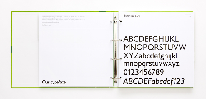 Benetton Sans was designed by Joe Finocchiaro. Key differences from Gill Sans include the normalized proportions of the caps, a straight-leg 'R', and more contemporary shapes for 'j, s, y'.