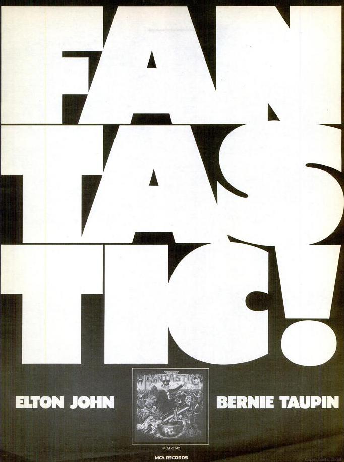 """Fantastic!"" ad for Captain Fantastic & the Brown Dirt Cowboy by Elton John & Bernie Taupin"