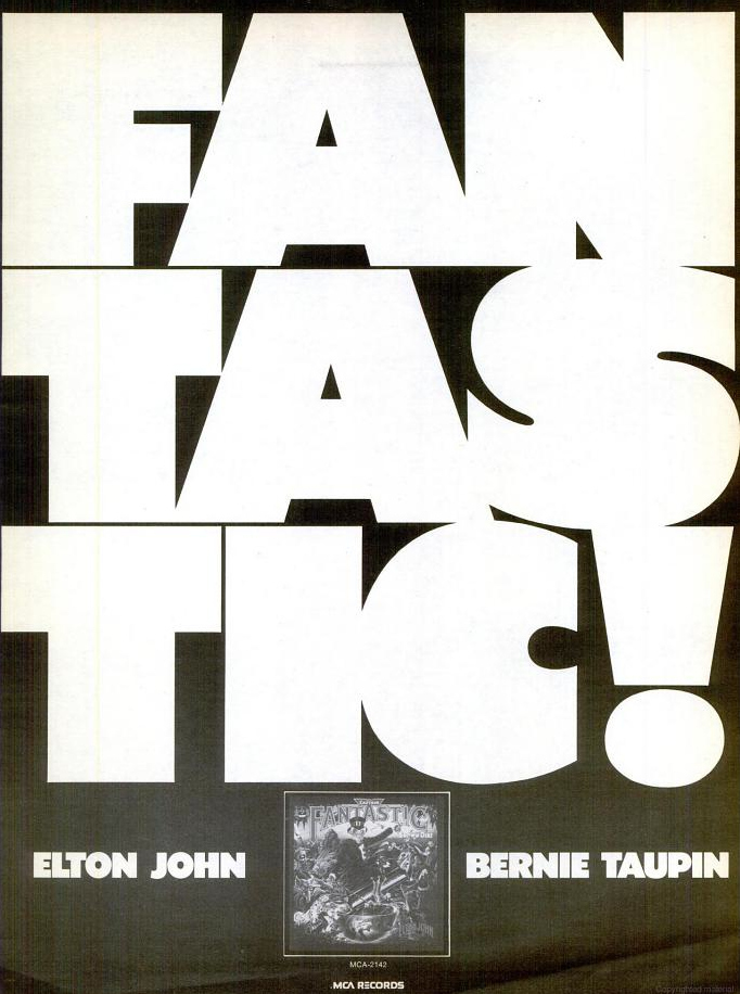 """Fantastic!"" ad for Captain Fantastic & the Brown Dirt Cowboy by Elton John & Bernie Taupin"