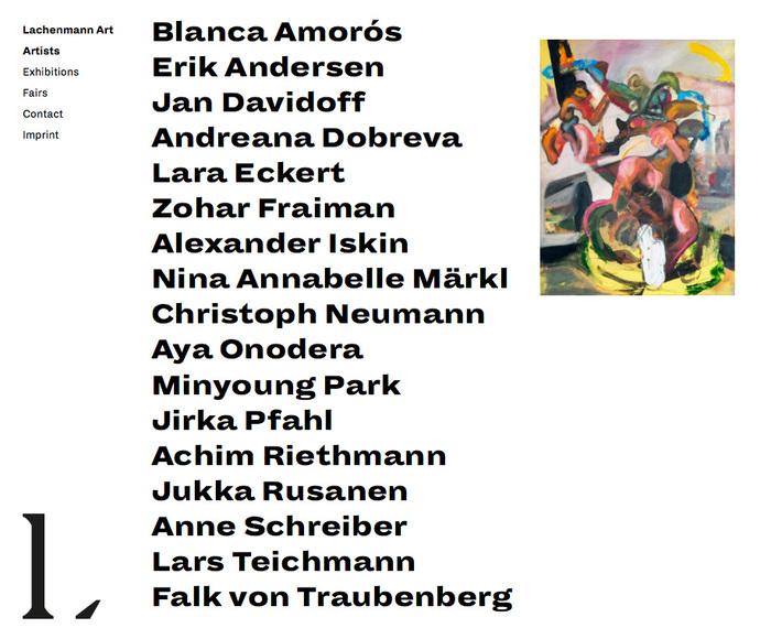 Website: list of artists